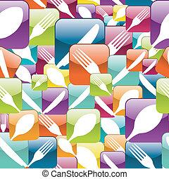 padrão, restaurante, seamless, ícone