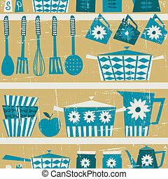 padrão, retro, cozinha
