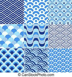 padrão, retro, seamless, onda