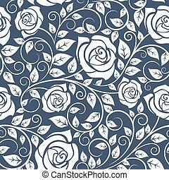 padrão, rosas, branca, seamles, hastes