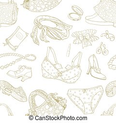 padrão, roupa interior, femininas