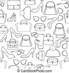 padrão, sacolas, seamless, sapatos