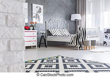 padrão, sala, cinzento, tapete