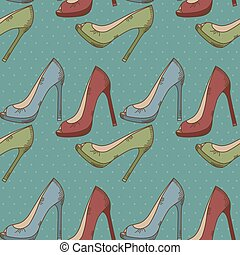 padrão, sapatos mulheres, seamless