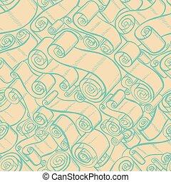 padrão, scrolls., seamless, fitas, papel parede, vindima