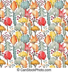 padrão, seamless, árvores, outono, diferente