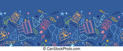 padrão, seamless, aniversário, fundo, horizontais, borda
