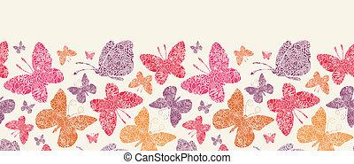 padrão, seamless, borboletas, fundo, floral, horizontais