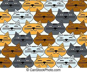 padrão, seamless, cats., experiência., vetorial, caras, emocional
