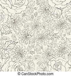padrão, seamless, chrysanthemums