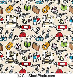 padrão, seamless, cute, objeto, vetorial