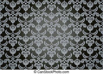 padrão, seamless, damasco