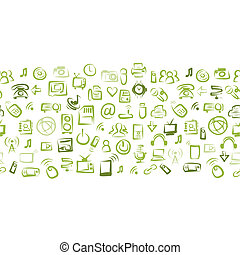 padrão, seamless, dispositivos, aquilo, desenho, seu