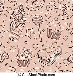 padrão, seamless, doces