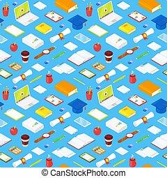 padrão, seamless, estudante, accsessories