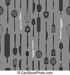 padrão, seamless, experiência., monocromático, ferramentas, cozinha