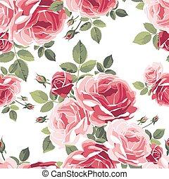 padrão, seamless, experiência., roses., vindima, floral