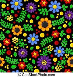 padrão, seamless, experiência., vetorial, pretas, floral