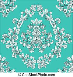 padrão, seamless, floral, papel parede, telha