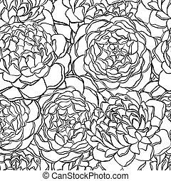 padrão, seamless, flowers., pretas, branca, monocromático
