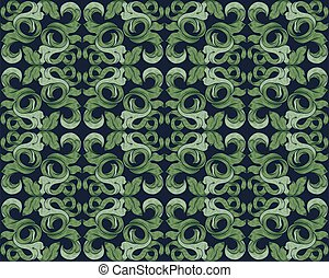 padrão, seamless, folhas, filigrana, fundo, floral