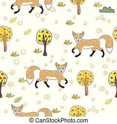 padrão, seamless, foxes., estilo, escandinavo, cute