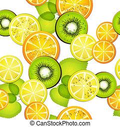 padrão, seamless, frutas