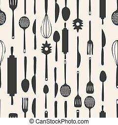 padrão, seamless, fundo, monocromático, ferramentas, cozinha