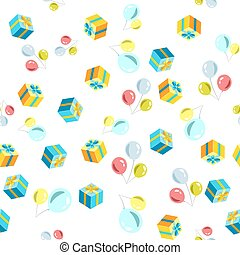 padrão, seamless, gift., vetorial, feriado, balões