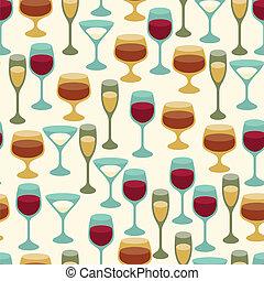 padrão, seamless, glasses., vinho