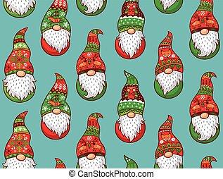 padrão, seamless, gnomes