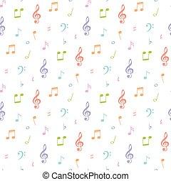 padrão, seamless, ilustração, nota, vetorial, música, fundo