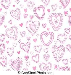 padrão, seamless, ilustração, valentine, vetorial, hearts.
