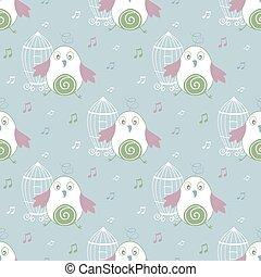 padrão, seamless, ilustração, vetorial, fundo, pássaro