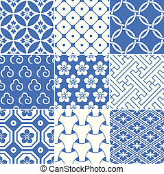 padrão, seamless, japoneses