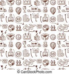 padrão, seamless, logistic, ícones
