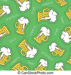 padrão, seamless, mão, cerveja, desenhado, remendo, ícone