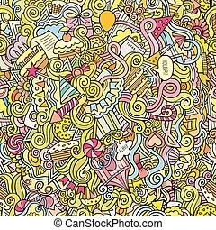 padrão, seamless, mão, desenhado, doodles, feriado