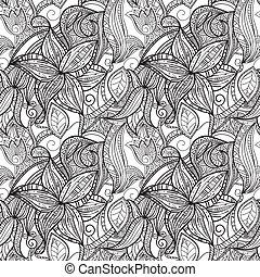 padrão, seamless, mão, desenhado, floral, monocromático