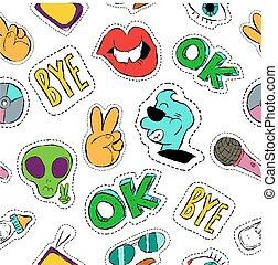 padrão, seamless, mão, divertimento, desenhado, remendo, ícone