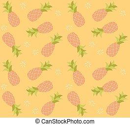 padrão, seamless, mão, fruta, abacaxi, desenhado