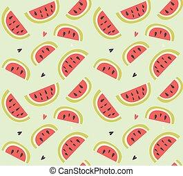padrão, seamless, mão, fruta, melancia, desenhado