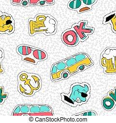 padrão, seamless, mão, retro, desenhado, remendo, ícone