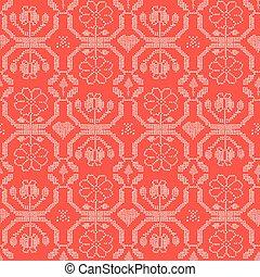 padrão, seamless, mão, vetorial, bordado, amostra, desenhado, pontos