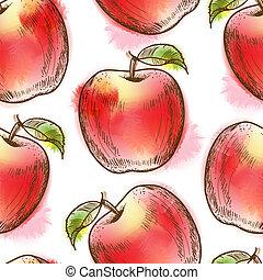 padrão, seamless, maçã vermelha
