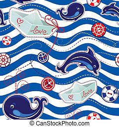 padrão, seamless, mar, golfinhos