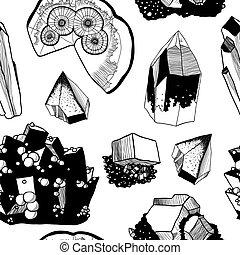 padrão, seamless, minerais