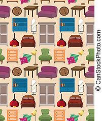 padrão, seamless, mobília