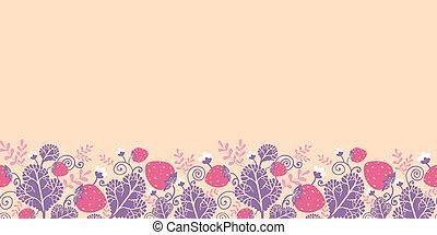 padrão, seamless, morangos, fundo, horizontais, borda