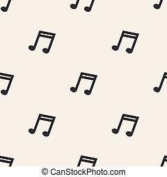 padrão, seamless, nota, música, fundo, monocromático